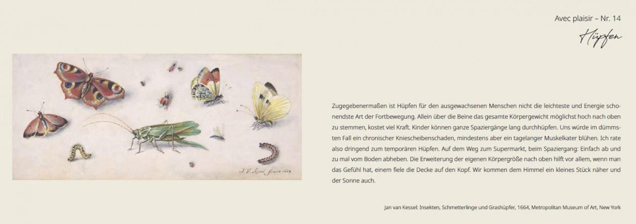 Esther Klippel, Avec plaisir! 25 erstaunlich einfache Alltagsfreuden Jan van Kessel: Insekten, Schmetterlinge und Grashüpfer, 1664, Metropolitan Museum of Art, New York || Grafik: Tanja Labs, artefont