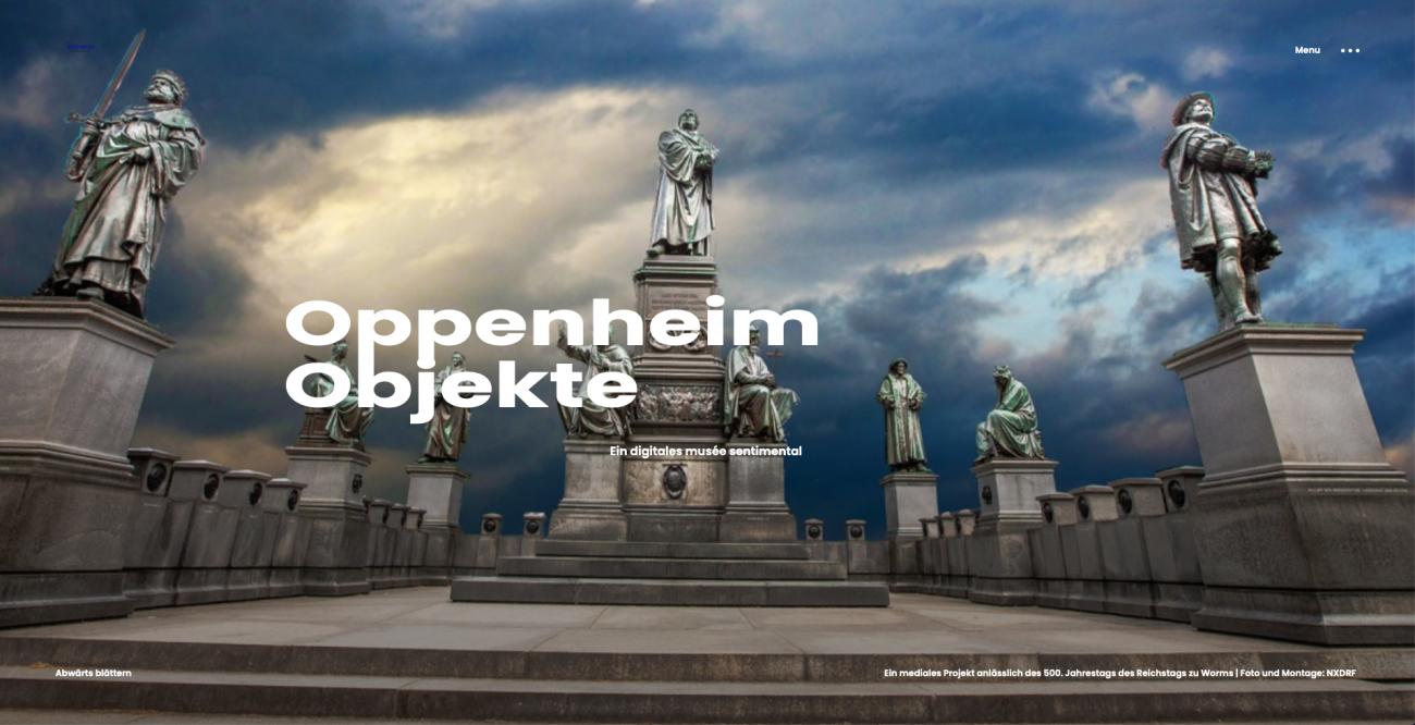 "NXDRF.DE, ""OppenheimObjekte – OppenheimObjects"" Screenshot Startseite ""OppenheimObjekte"" Foto und Montage ©NXDRF.DE"