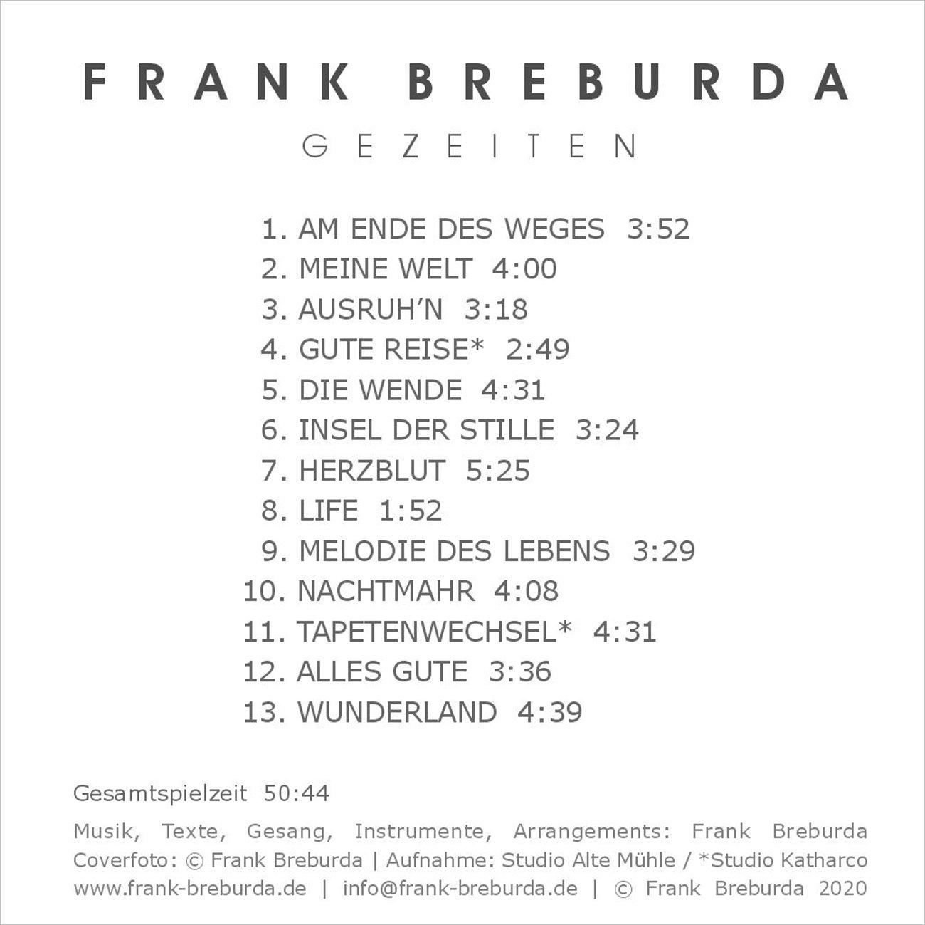 Frank Breburda Liedermacher, GEZEITEN Frank Breburda