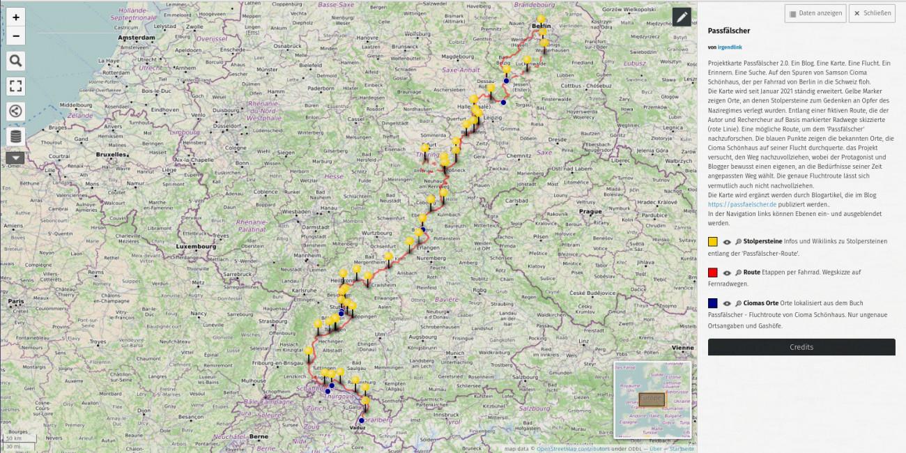Jürgen Rinck, Passfälscher 2.0 Screenshot der Karte aus Open Streetmap: map data © OpenStreetMap contributors under ODbL