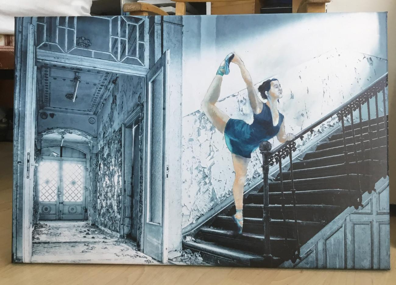 Cornelia Kandler – bitundgraphit.de, Die Entwicklung neuer Kunstwerke, hier in Form von Ölfarbe auf bedruckter Leinwand Cornelia Kandler Peter Herrmann