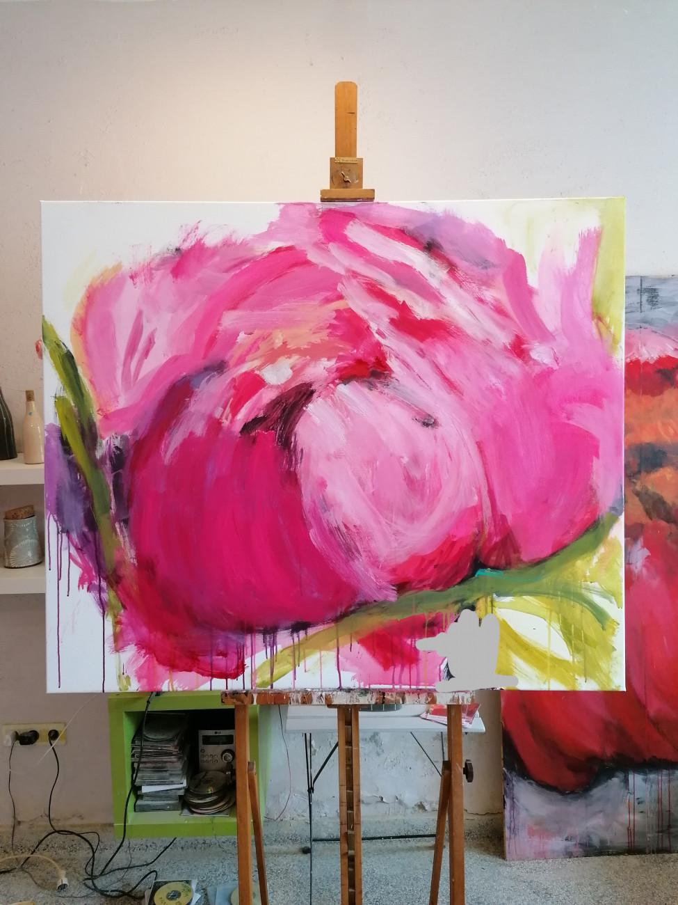 Uta Minnich, Acrylmalerei große Blumenbilder dav