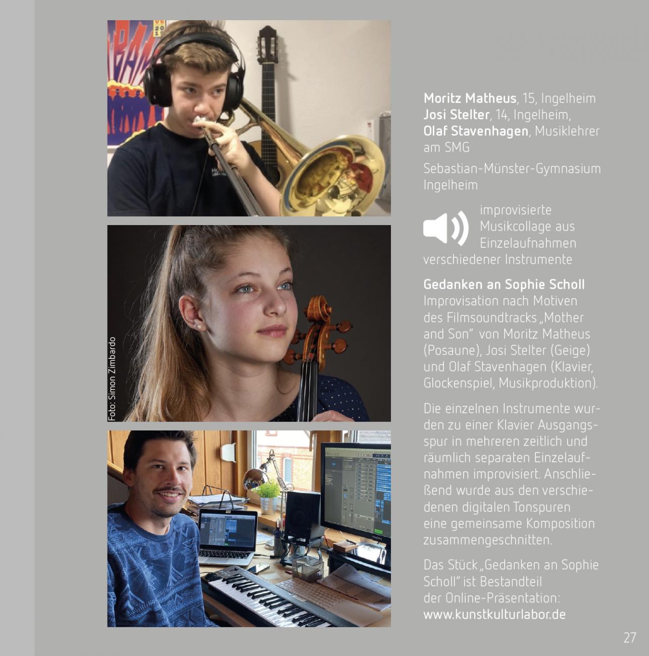 kunstkulturlabor Tobias Boos, Mitmach-Projekt zum 100. Geburtstag von Sophie Scholl Simon Zimbardo